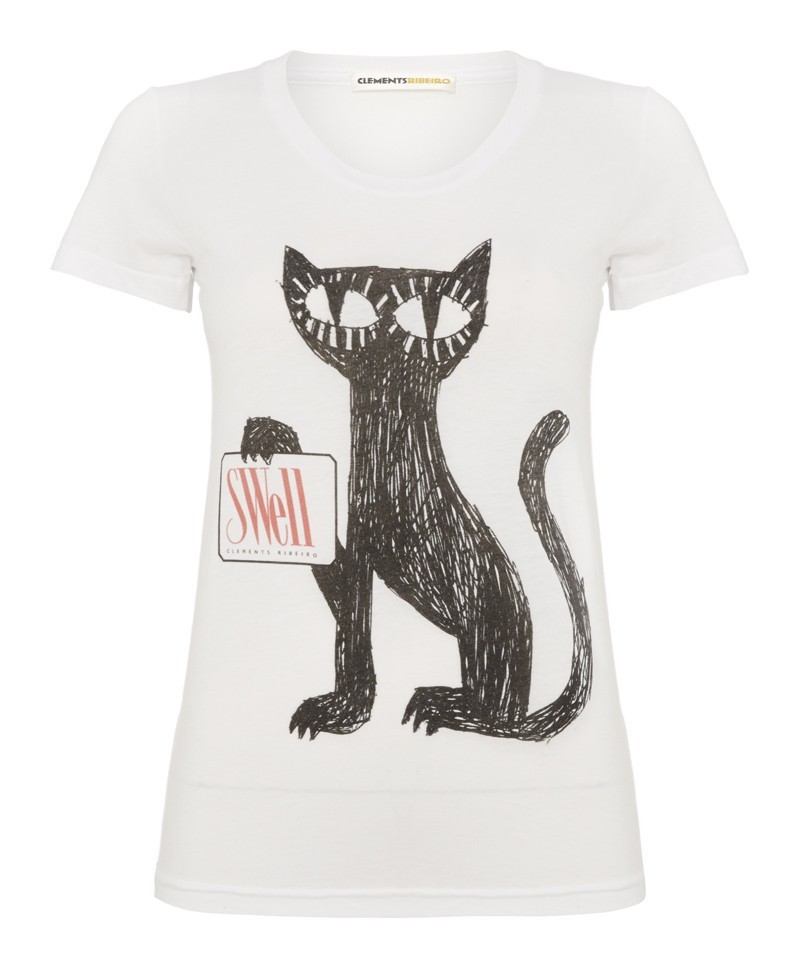 Felix White Scoop Neck Cat T Shirt - neckline: round neck; style: t-shirt; predominant colour: white; secondary colour: black; occasions: casual; length: standard; fibres: cotton - 100%; fit: straight cut; sleeve length: short sleeve; sleeve style: standard; texture group: cotton feel fabrics; pattern type: fabric; pattern size: standard; pattern: graphic/slogan; trends: logos; season: a/w 2013