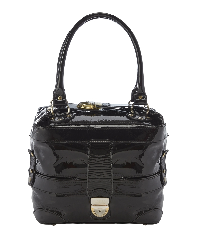 Mini Gabriel Bag - predominant colour: black; occasions: casual, work, creative work; style: tote; length: handle; size: standard; material: leather; pattern: plain; finish: patent; season: a/w 2013