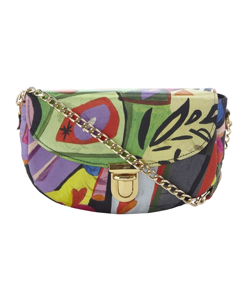 Clutch Bag - occasions: evening, occasion; predominant colour: multicoloured; type of pattern: heavy; style: clutch; length: hand carry; size: small; finish: plain; pattern: patterned/print; material: silk; season: a/w 2013; multicoloured: multicoloured