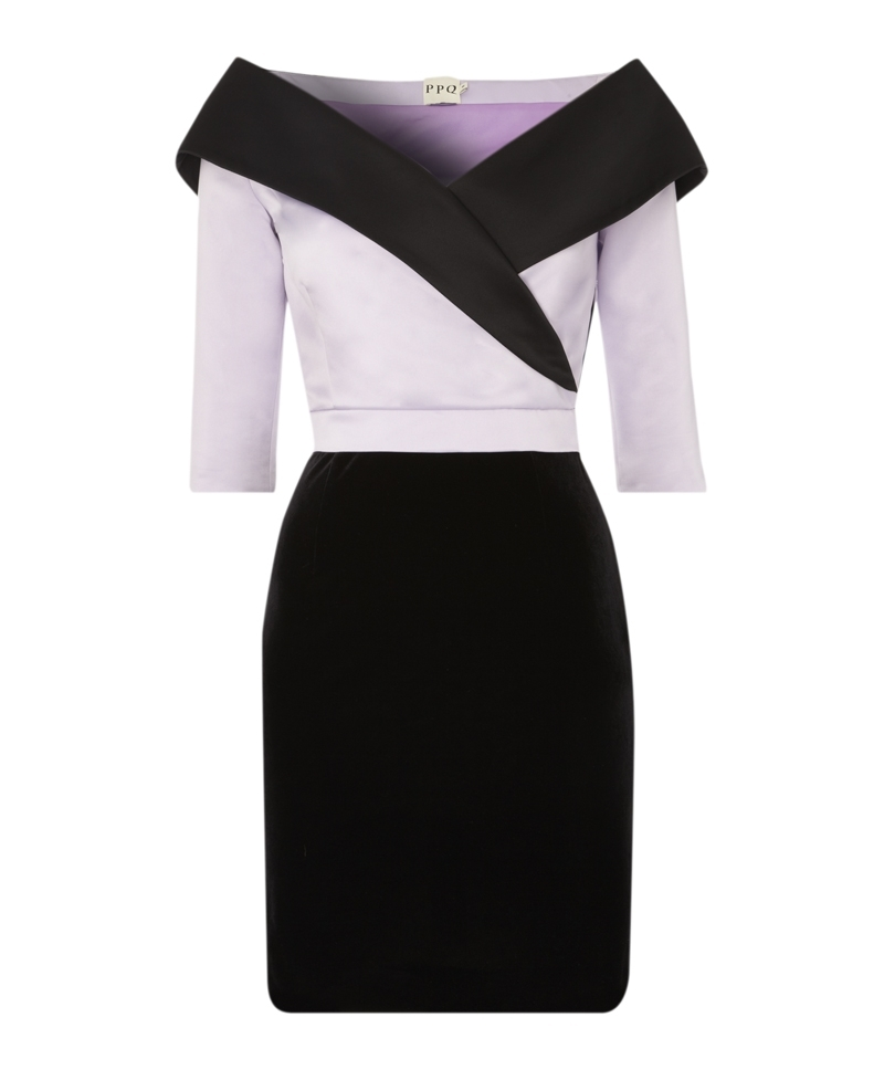 Miro Dress - style: shift; length: mini; neckline: off the shoulder; fit: tailored/fitted; waist detail: fitted waist; hip detail: fitted at hip; predominant colour: lilac; secondary colour: black; occasions: evening, occasion; sleeve length: half sleeve; sleeve style: standard; texture group: structured shiny - satin/tafetta/silk etc.; pattern type: fabric; pattern size: light/subtle; pattern: colourblock; trends: show-off shoulders; season: a/w 2013