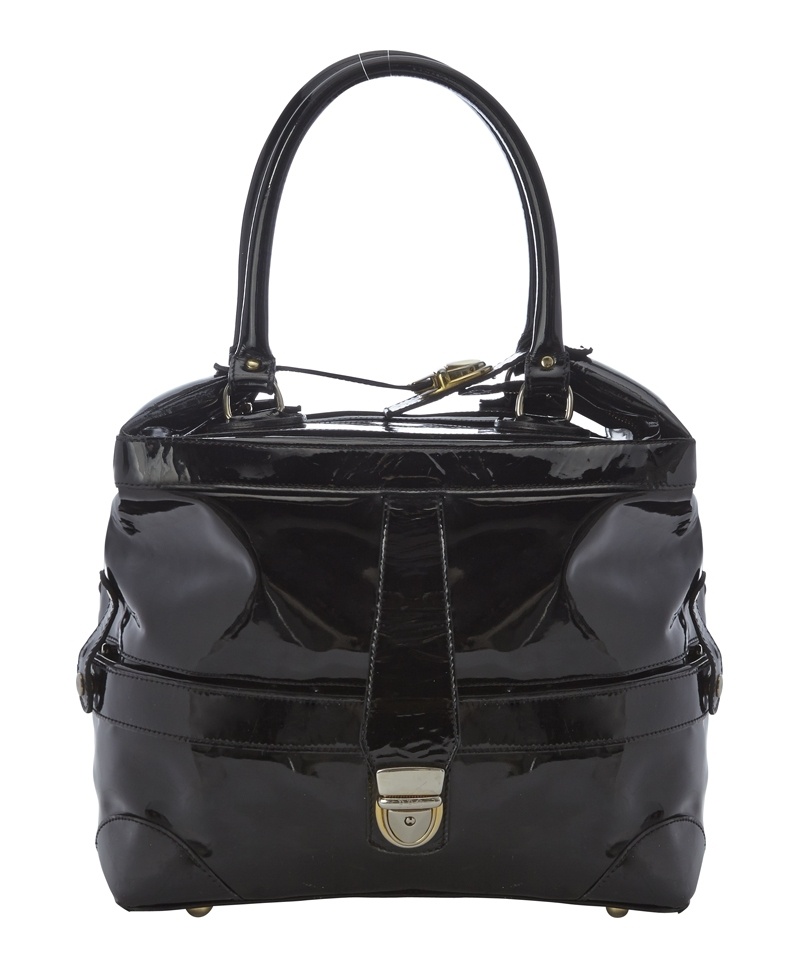 Mini Gabriel Bag - predominant colour: black; occasions: casual, work, creative work; style: structured bag; length: handle; size: mini; material: leather; pattern: plain; finish: patent; season: a/w 2013