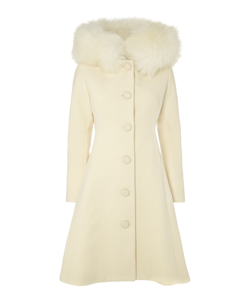 Jarry Coat - pattern: plain; style: single breasted; back detail: hood; length: on the knee; predominant colour: ivory/cream; occasions: casual, evening, work, creative work; fit: tailored/fitted; fibres: wool - 100%; sleeve length: long sleeve; sleeve style: standard; collar: fur; collar break: high; pattern type: fabric; texture group: woven bulky/heavy; embellishment: fur; season: a/w 2013