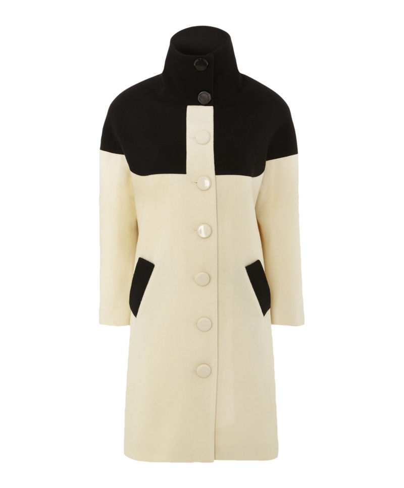 Rene Coat - collar: funnel; style: single breasted; length: on the knee; predominant colour: ivory/cream; secondary colour: black; occasions: casual, evening, work, creative work; fit: tailored/fitted; fibres: wool - 100%; sleeve length: long sleeve; sleeve style: standard; collar break: high; pattern type: fabric; pattern size: standard; pattern: colourblock; texture group: woven bulky/heavy; season: a/w 2013