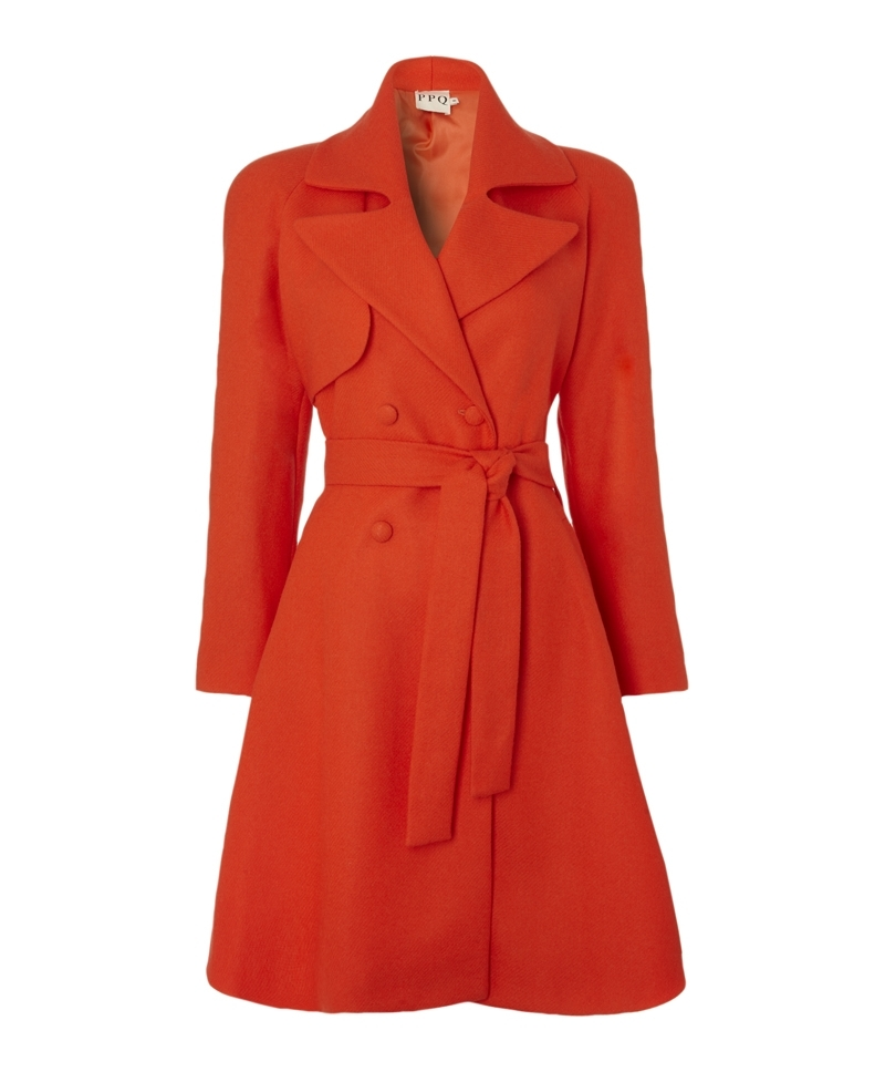 Aragon Trench Coat - pattern: plain; style: trench coat; length: on the knee; collar: standard lapel/rever collar; predominant colour: bright orange; occasions: casual, work, creative work; fit: tailored/fitted; fibres: wool - 100%; waist detail: belted waist/tie at waist/drawstring; back detail: back vent/flap at back; sleeve length: long sleeve; sleeve style: standard; collar break: medium; pattern type: fabric; texture group: woven bulky/heavy; season: a/w 2013