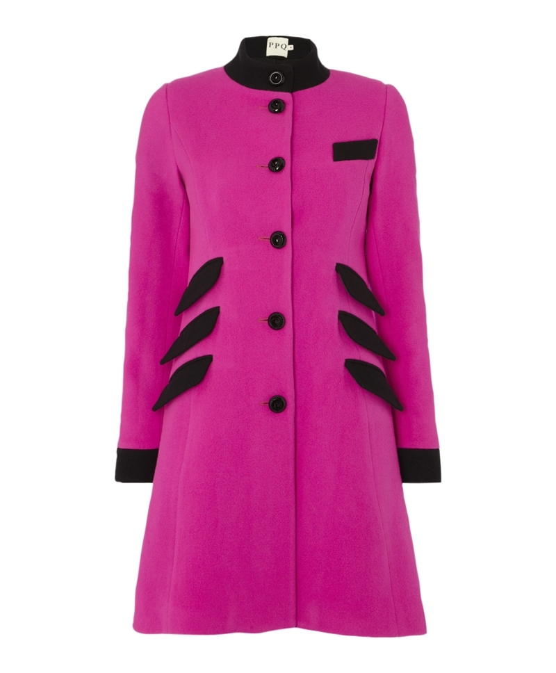 Ray Coat - style: single breasted; collar: high neck; length: mid thigh; predominant colour: hot pink; secondary colour: black; occasions: casual, evening, work, creative work; fit: tailored/fitted; fibres: wool - 100%; sleeve length: long sleeve; sleeve style: standard; collar break: high; pattern type: fabric; pattern size: light/subtle; pattern: colourblock; texture group: woven bulky/heavy; trends: hot brights; season: a/w 2013; hip detail: side pockets at hip