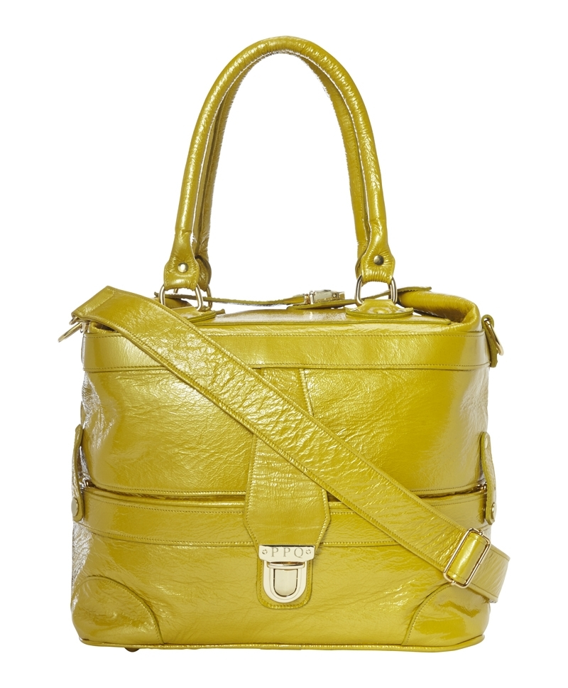 Gabriel Bag - predominant colour: lime; occasions: casual, work, creative work; style: tote; length: handle; size: standard; material: leather; pattern: plain; finish: plain; trends: hot brights; season: a/w 2013