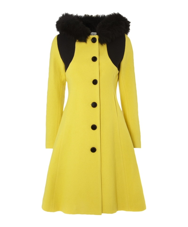 Jarry Coat - style: single breasted; back detail: hood; length: on the knee; predominant colour: primrose yellow; secondary colour: black; occasions: casual, evening, work, occasion, creative work; fit: tailored/fitted; fibres: wool - mix; sleeve length: long sleeve; sleeve style: standard; collar: fur; collar break: high/illusion of break when open; pattern type: fabric; pattern size: light/subtle; pattern: colourblock; texture group: woven bulky/heavy; embellishment: fur; season: a/w 2013; wardrobe: highlight; embellishment location: neck
