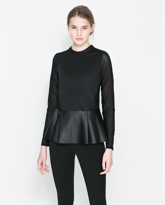 Combined Faux Leather Peplum Top - pattern: plain; waist detail: peplum waist detail; predominant colour: black; occasions: casual, evening, occasion, creative work; length: standard; style: top; fibres: polyester/polyamide - stretch; fit: tailored/fitted; neckline: crew; sleeve length: long sleeve; sleeve style: standard; texture group: other - light to midweight; season: a/w 2013