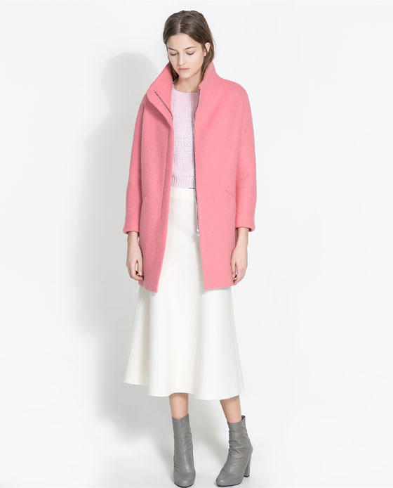 BouclÉ Coat - pattern: plain; collar: funnel; style: single breasted; length: mid thigh; predominant colour: pink; occasions: casual, evening, work, creative work; fit: straight cut (boxy); fibres: wool - mix; sleeve length: long sleeve; sleeve style: standard; collar break: high/illusion of break when open; pattern type: fabric; texture group: woven bulky/heavy; trends: oversized structure; season: a/w 2013