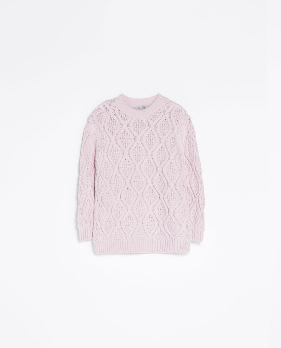 Cable Knit Sweater - style: standard; pattern: cable knit; predominant colour: blush; occasions: casual, creative work; length: standard; fibres: cotton - 100%; fit: standard fit; neckline: crew; sleeve length: long sleeve; sleeve style: standard; texture group: knits/crochet; pattern type: knitted - big stitch; season: a/w 2013; pattern size: big & busy (top)