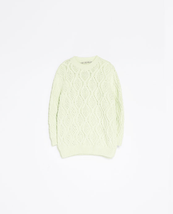 Cable Knit Sweater - style: standard; pattern: cable knit; predominant colour: ivory/cream; occasions: casual, creative work; length: standard; fibres: cotton - 100%; fit: standard fit; neckline: crew; sleeve length: long sleeve; sleeve style: standard; texture group: knits/crochet; pattern type: knitted - big stitch; pattern size: standard; season: a/w 2013