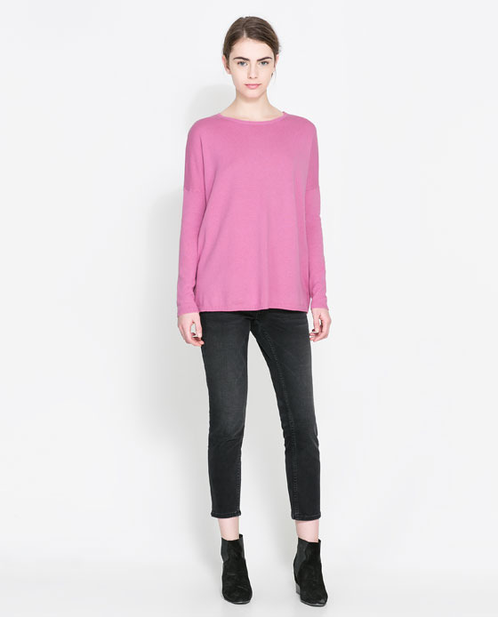 Boat Neck Jumper - neckline: round neck; pattern: plain; style: standard; occasions: casual, creative work; length: standard; fibres: cotton - mix; fit: loose; sleeve length: long sleeve; sleeve style: standard; texture group: knits/crochet; pattern type: knitted - fine stitch; predominant colour: dusky pink; season: a/w 2013