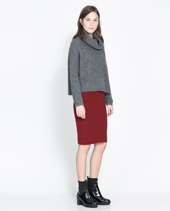 Pencil Skirt - pattern: plain; style: pencil; fit: tailored/fitted; waist: mid/regular rise; predominant colour: burgundy; occasions: casual, evening, work, creative work; length: on the knee; fibres: cotton - stretch; texture group: jersey - clingy; pattern type: fabric; trends: broody brights; season: a/w 2013