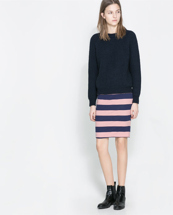 Pencil Skirt - style: pencil; fit: tailored/fitted; waist: low rise; secondary colour: pink; predominant colour: navy; occasions: casual, evening, creative work; length: just above the knee; fibres: cotton - stretch; texture group: jersey - clingy; pattern type: fabric; season: a/w 2013; pattern size: standard (bottom); pattern: horizontal stripes (bottom)