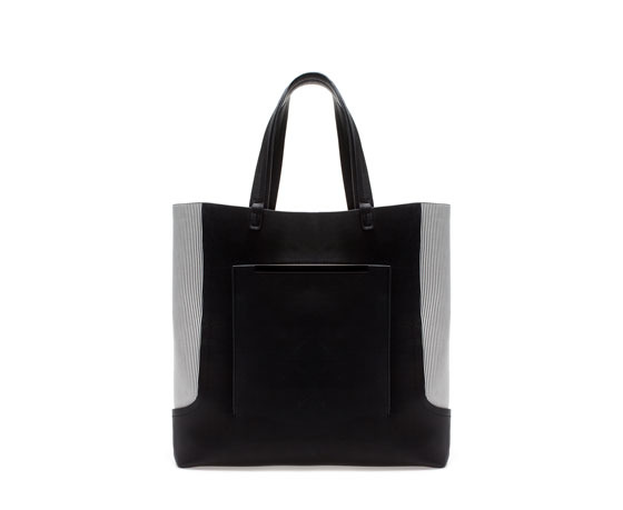 Shopper Bag With Side Stripe - secondary colour: mid grey; predominant colour: black; occasions: casual, work, creative work; type of pattern: standard; style: tote; length: shoulder (tucks under arm); size: oversized; material: faux leather; finish: plain; pattern: colourblock; season: a/w 2013