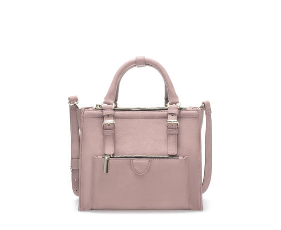 Mini City Bag With Zip Details - predominant colour: blush; occasions: casual, work, creative work; style: grab bag; length: handle; size: standard; material: faux leather; pattern: plain; finish: plain; season: a/w 2013