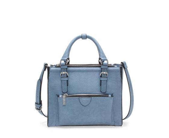 Mini City Bag With Zip Details - predominant colour: denim; occasions: casual, work, creative work; type of pattern: standard; style: tote; length: handle; size: standard; material: faux leather; pattern: plain; finish: plain; season: a/w 2013