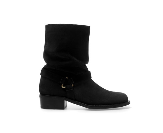 Flat Leather Ankle Boot - predominant colour: black; occasions: casual, creative work; material: suede; heel height: flat; embellishment: buckles; heel: standard; toe: round toe; boot length: ankle boot; style: standard; finish: plain; pattern: plain; season: a/w 2013