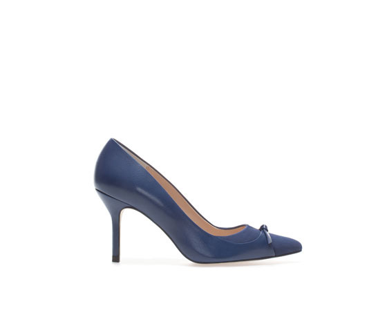 Leather High Heeled Court Shoe - predominant colour: royal blue; occasions: casual, evening, work, occasion, creative work; material: leather; heel height: high; heel: stiletto; toe: pointed toe; style: courts; finish: plain; pattern: plain; embellishment: bow; trends: 1940's hitchcock heroines, broody brights; season: a/w 2013