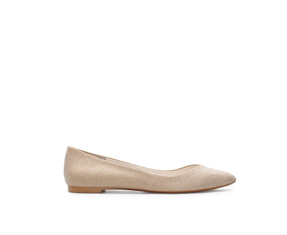 Ballerina Flats With Crystals - predominant colour: stone; occasions: casual, evening, work, occasion, creative work; material: faux leather; heel height: flat; toe: pointed toe; style: ballerinas / pumps; finish: metallic; pattern: plain; trends: excess embellishment; season: a/w 2013