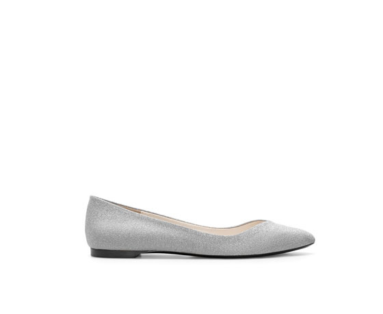Ballerina Flats With Crystals - predominant colour: mid grey; occasions: casual, evening, work, occasion, creative work; material: faux leather; heel height: flat; embellishment: crystals/glass; toe: pointed toe; style: ballerinas / pumps; finish: patent; pattern: plain; trends: excess embellishment; season: a/w 2013