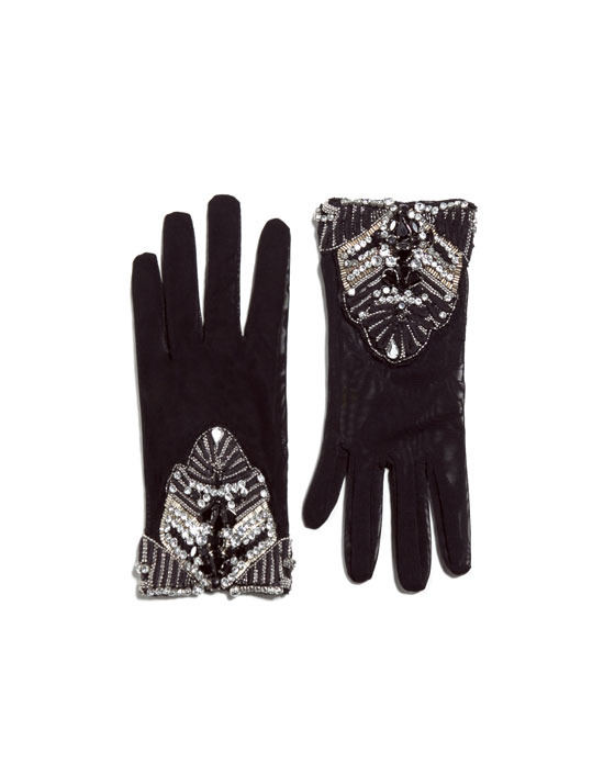Gloves With Diamante - predominant colour: black; occasions: casual, evening, work, occasion, creative work; type of pattern: standard; embellishment: crystals/glass; style: standard; length: wrist; pattern: plain; material: faux leather; trends: excess embellishment, gothic romance; season: a/w 2013