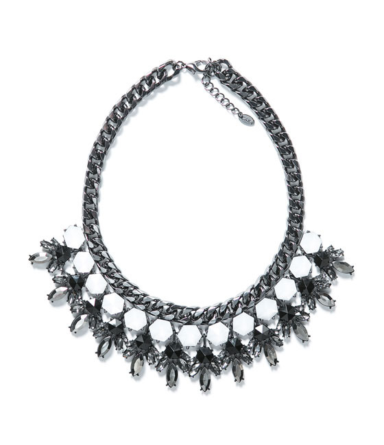 Rhinestone Necklace - predominant colour: black; occasions: casual, evening, occasion, creative work; length: short; size: large/oversized; material: chain/metal; finish: metallic; embellishment: crystals/glass; style: bib/statement; season: a/w 2013