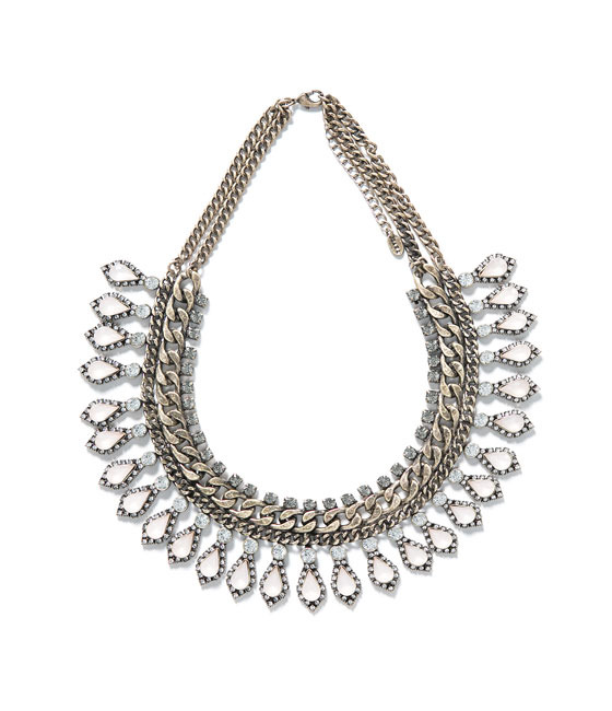 Stones And Diamante Necklace - predominant colour: silver; occasions: casual, evening, occasion, creative work; length: short; size: large/oversized; material: chain/metal; finish: metallic; embellishment: crystals/glass; style: bib/statement; season: a/w 2013