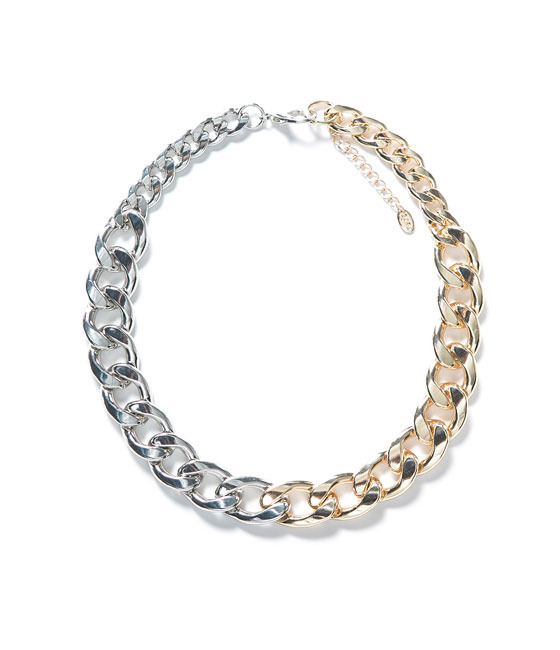 Chain And Link Necklace - secondary colour: silver; predominant colour: gold; occasions: casual, evening, work, occasion, holiday, creative work; length: short; size: standard; material: chain/metal; finish: metallic; embellishment: chain/metal; season: a/w 2013; style: chain (no pendant)