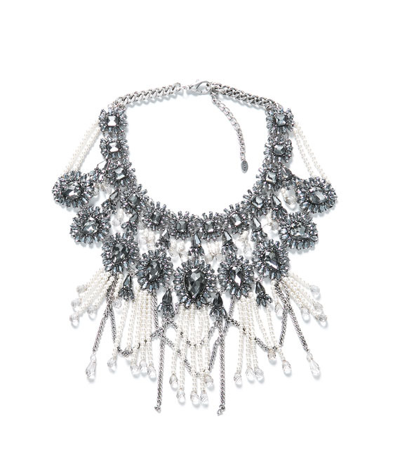 Fringe And Chain Necklace - predominant colour: silver; occasions: evening, occasion; length: mid; size: large/oversized; material: chain/metal; finish: metallic; embellishment: crystals/glass; style: bib/statement; season: a/w 2013