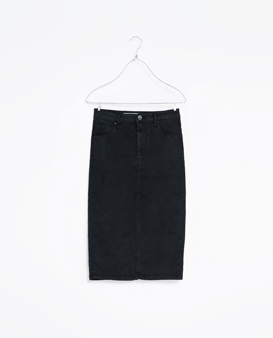 5 Pocket Skirt - pattern: plain; style: straight; waist: mid/regular rise; predominant colour: black; occasions: casual, creative work; length: just above the knee; fibres: cotton - stretch; texture group: cotton feel fabrics; fit: straight cut; trends: gorgeous grunge; season: a/w 2013