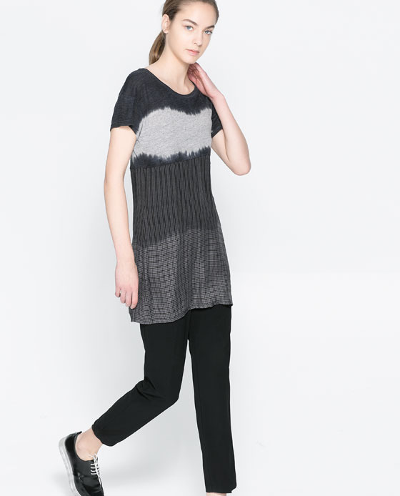 Long DegradÉ Shirt - neckline: round neck; style: t-shirt; predominant colour: charcoal; secondary colour: mid grey; occasions: casual, creative work; fibres: viscose/rayon - stretch; fit: body skimming; length: mid thigh; sleeve length: short sleeve; sleeve style: standard; pattern: patterned/print; texture group: jersey - stretchy/drapey; season: a/w 2013