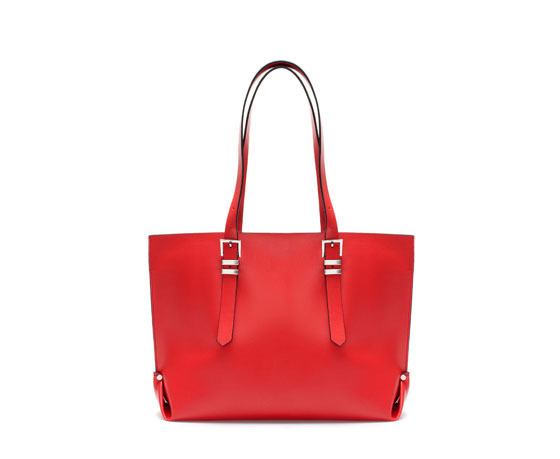 Shopper Bag With Buckles - predominant colour: true red; occasions: casual, work, holiday, creative work; style: tote; length: shoulder (tucks under arm); size: oversized; material: faux leather; pattern: plain; finish: plain; embellishment: buckles; season: a/w 2013