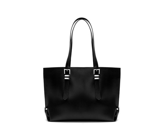 Shopper Bag With Buckles - predominant colour: black; occasions: casual, work, occasion, creative work; style: tote; length: shoulder (tucks under arm); size: oversized; material: faux leather; pattern: plain; finish: plain; embellishment: buckles; trends: gothic romance; season: a/w 2013