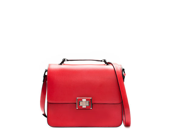 Briefcase Messenger Bag - predominant colour: true red; occasions: casual, creative work; type of pattern: standard; style: messenger; length: across body/long; size: standard; material: faux leather; pattern: plain; finish: plain; season: a/w 2013