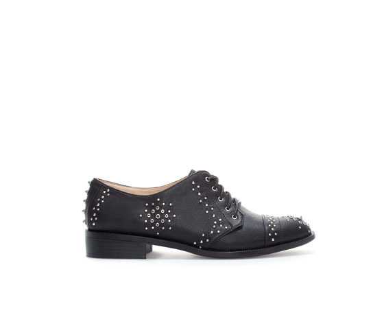 Studded Blucher - predominant colour: black; occasions: casual, work, creative work; material: faux leather; heel height: flat; embellishment: studs; toe: round toe; finish: plain; pattern: plain; style: lace ups; season: a/w 2013