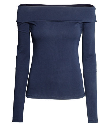 Off The Shoulder Top - neckline: off the shoulder; pattern: plain; predominant colour: navy; occasions: casual, evening, creative work; length: standard; style: top; fibres: cotton - stretch; fit: tight; sleeve length: long sleeve; sleeve style: standard; texture group: jersey - clingy; pattern type: fabric; trends: broody brights; season: a/w 2013