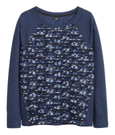 Sweatshirt - neckline: round neck; sleeve style: raglan; style: sweat top; predominant colour: navy; occasions: casual, creative work; length: standard; fibres: cotton - mix; fit: loose; sleeve length: long sleeve; pattern: patterned/print; texture group: jersey - stretchy/drapey; season: a/w 2013
