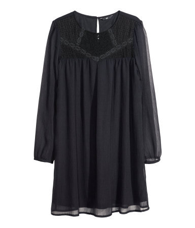 Chiffon Dress - style: smock; neckline: round neck; fit: loose; pattern: plain; sleeve style: balloon; shoulder detail: contrast pattern/fabric at shoulder; predominant colour: black; occasions: casual, evening, occasion, creative work; length: just above the knee; fibres: polyester/polyamide - 100%; hip detail: subtle/flattering hip detail; sleeve length: long sleeve; texture group: sheer fabrics/chiffon/organza etc.; pattern type: fabric; embellishment: lace; season: a/w 2013