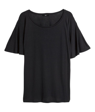 Jersey Top - sleeve style: angel/waterfall; pattern: plain; predominant colour: black; occasions: casual, creative work; length: standard; style: top; neckline: scoop; fibres: cotton - 100%; fit: loose; sleeve length: short sleeve; texture group: jersey - stretchy/drapey; season: a/w 2013