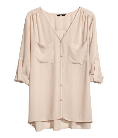 Chiffon Blouse - neckline: low v-neck; pattern: plain; length: below the bottom; style: blouse; predominant colour: nude; occasions: casual, work, creative work; fibres: polyester/polyamide - 100%; fit: loose; sleeve length: 3/4 length; sleeve style: standard; texture group: sheer fabrics/chiffon/organza etc.; season: a/w 2013