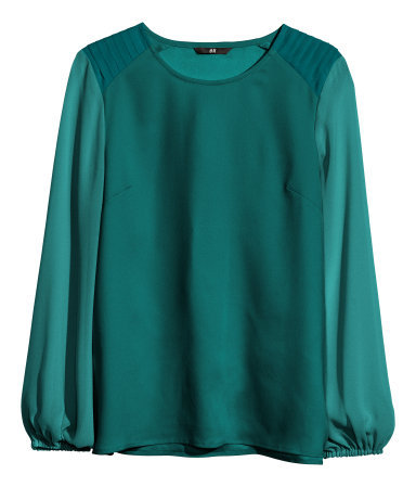 Chiffon Blouse - neckline: round neck; pattern: plain; sleeve style: balloon; style: blouse; predominant colour: dark green; occasions: casual, evening, work, creative work; length: standard; fibres: polyester/polyamide - 100%; fit: loose; sleeve length: long sleeve; texture group: sheer fabrics/chiffon/organza etc.; season: a/w 2013