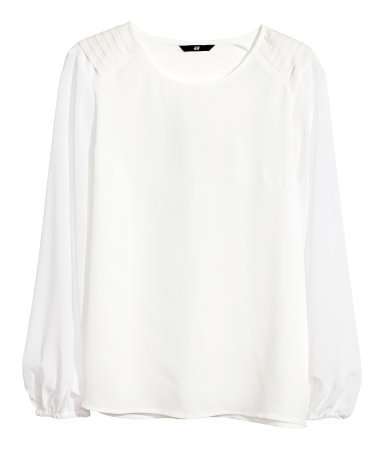 Chiffon Blouse - neckline: round neck; pattern: plain; sleeve style: balloon; style: blouse; predominant colour: white; occasions: casual, evening, work, creative work; length: standard; fibres: polyester/polyamide - 100%; fit: loose; sleeve length: long sleeve; texture group: sheer fabrics/chiffon/organza etc.; season: a/w 2013