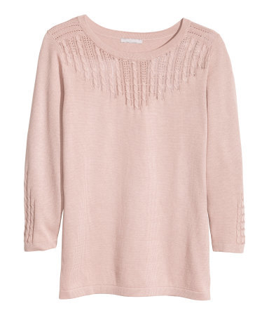 Fine Knit Jumper - neckline: round neck; pattern: plain; style: standard; predominant colour: nude; occasions: casual, work, creative work; length: standard; fibres: cotton - mix; fit: slim fit; bust detail: contrast pattern/fabric/detail at bust; sleeve length: 3/4 length; sleeve style: standard; texture group: knits/crochet; pattern type: knitted - other; pattern size: standard; season: a/w 2013