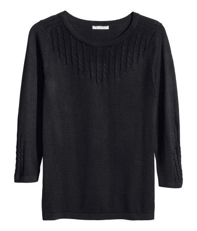 Fine Knit Jumper - neckline: round neck; pattern: plain; style: standard; predominant colour: black; occasions: casual, work, creative work; length: standard; fibres: cotton - mix; fit: standard fit; bust detail: contrast pattern/fabric/detail at bust; sleeve length: 3/4 length; sleeve style: standard; texture group: knits/crochet; pattern type: knitted - other; pattern size: standard; season: a/w 2013
