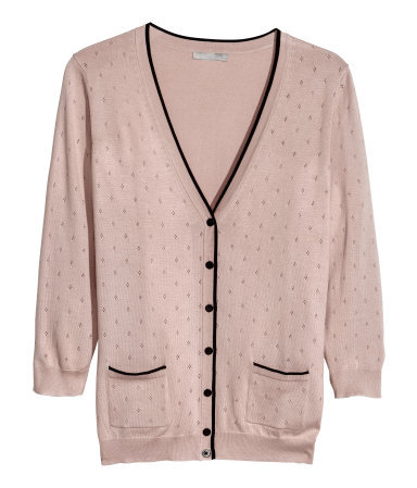 Fine Knit Cardigan - neckline: low v-neck; hip detail: front pockets at hip; pattern: polka dot; predominant colour: blush; secondary colour: black; occasions: casual, evening, work, creative work; length: standard; style: standard; fibres: cotton - mix; fit: slim fit; sleeve length: 3/4 length; sleeve style: standard; texture group: knits/crochet; pattern type: knitted - other; pattern size: light/subtle; season: a/w 2013