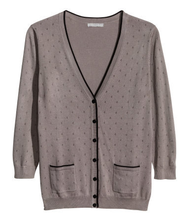Fine Knit Cardigan - neckline: low v-neck; hip detail: front pockets at hip; pattern: polka dot; predominant colour: mid grey; secondary colour: black; occasions: casual, evening, work, creative work; length: standard; style: standard; fibres: cotton - mix; fit: standard fit; sleeve length: 3/4 length; sleeve style: standard; texture group: knits/crochet; pattern type: knitted - other; pattern size: light/subtle; season: a/w 2013