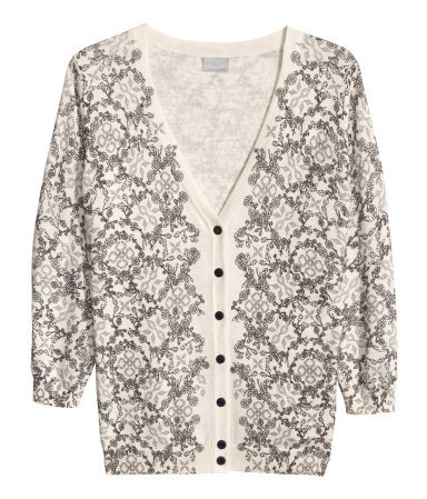 Fine Knit Cardigan - neckline: low v-neck; secondary colour: ivory/cream; predominant colour: mid grey; occasions: casual, evening, work, creative work; length: standard; style: standard; fibres: cotton - mix; fit: standard fit; sleeve length: 3/4 length; sleeve style: standard; texture group: knits/crochet; pattern type: knitted - fine stitch; pattern size: standard; pattern: patterned/print; season: a/w 2013