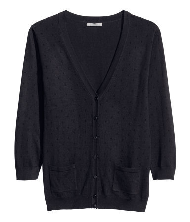 Fine Knit Cardigan - neckline: v-neck; pattern: plain; predominant colour: black; occasions: casual, evening, work, creative work; length: standard; style: standard; fibres: cotton - mix; fit: standard fit; sleeve length: 3/4 length; sleeve style: standard; texture group: knits/crochet; pattern type: knitted - other; season: a/w 2013