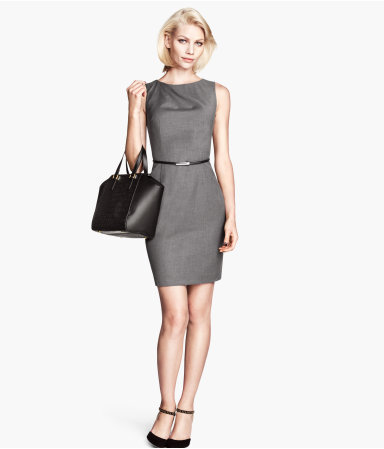 Figure Fit Dress - style: shift; length: mid thigh; neckline: round neck; fit: tailored/fitted; pattern: plain; sleeve style: sleeveless; waist detail: belted waist/tie at waist/drawstring; predominant colour: charcoal; occasions: evening, creative work; fibres: viscose/rayon - stretch; sleeve length: sleeveless; pattern type: fabric; texture group: woven light midweight; season: a/w 2013